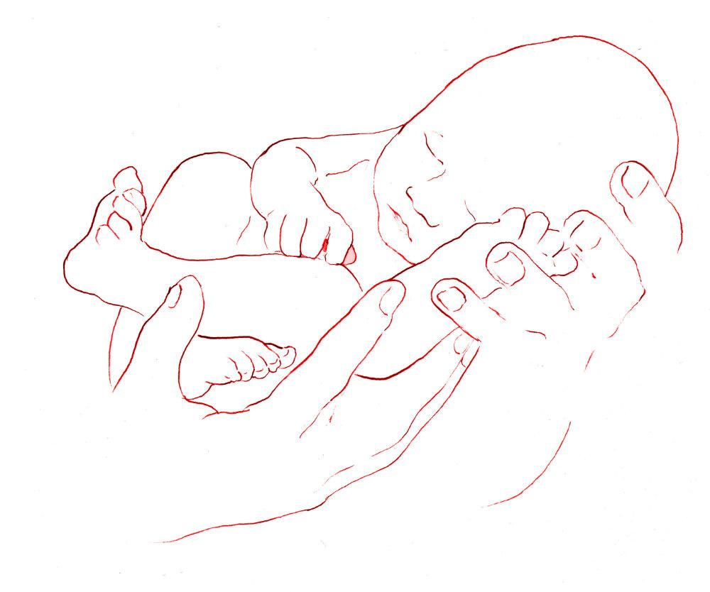 Zeichnung Baby in Hand